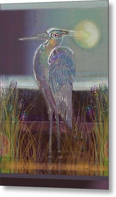 Great Blue Heron Metal Print by Lydia L Kramer