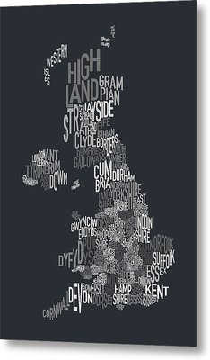 Great Britain County Text Map Metal Print by Michael Tompsett