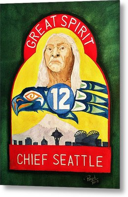 Great Spirit Seattle 12s Metal Print by Rand Swift