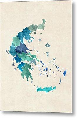 Greece Watercolor Map Metal Print by Michael Tompsett