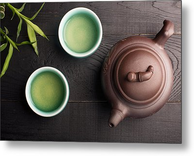 Green Tea In The Tea Cups Metal Print