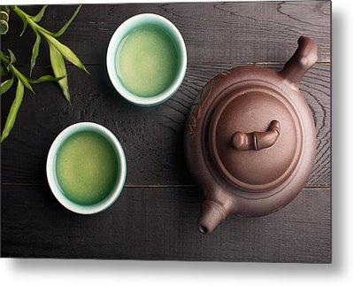 Green Tea In The Tea Cups Metal Print by Vadim Goodwill