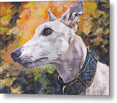 Metal Print featuring the painting Greyhound Portrait by Lee Ann Shepard