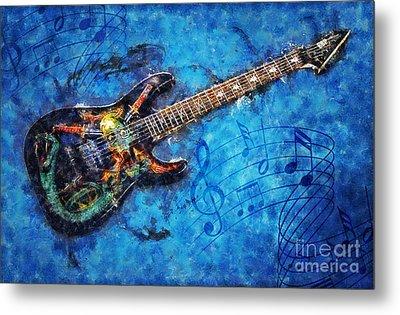 Metal Print featuring the digital art Guitar Love by Ian Mitchell