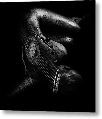 Guitar Woman Metal Print