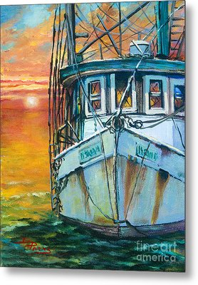 Metal Print featuring the painting Gulf Coast Shrimper by Dianne Parks