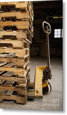 Hand Truck And Wooden Pallets Metal Print by Shannon Fagan