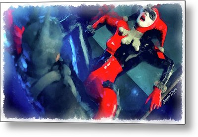 Harley Quinn Fighting Batman - Aquarell Style Metal Print