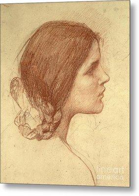 Head Of A Girl Metal Print by John William Waterhouse
