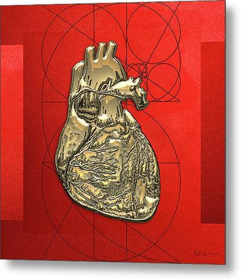 Heart Of Gold - Golden Human Heart On Red Canvas Metal Print by Serge Averbukh