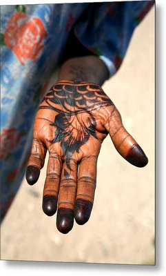 Henna Hand Metal Print