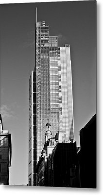 Heron Tower London Black And White Metal Print