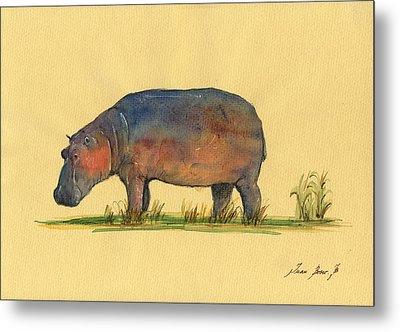 Hippo Watercolor Painting  Metal Print
