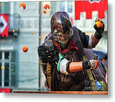Historical Carnival Of Ivrea Metal Print