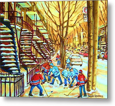 Metal Print featuring the painting Hockey Game Near Winding Staircases by Carole Spandau