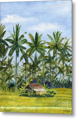 Metal Print featuring the painting Home Bali Ubud Indonesia by Melly Terpening