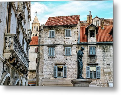 Houses And Cathedral Of Saint Domnius, Dujam, Duje, Bell Tower Old Town, Split, Croatia Metal Print by Elenarts - Elena Duvernay photo
