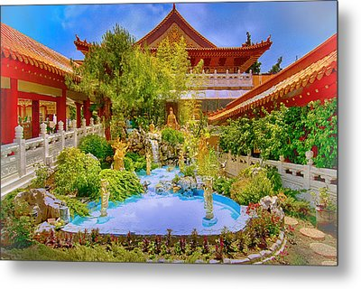 Hsi Lai Temple Metal Print by Joseph Hollingsworth