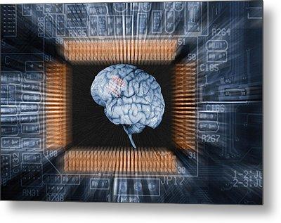 Human Brain And Communication Metal Print by Christian Lagereek