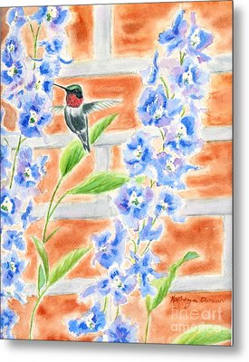 Hummer And Delphiniums Metal Print by Kathryn Duncan
