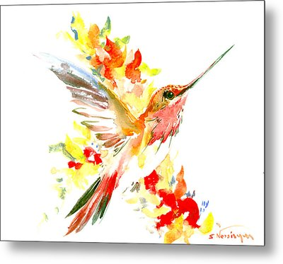 Hummingbird And Flame Colored Flowers Metal Print by Suren Nersisyan