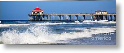 Huntington Beach Pier Panoramic Photo Metal Print