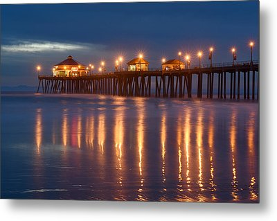 Metal Print featuring the photograph Huntington Beach Pier At Night by Dung Ma