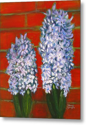 Metal Print featuring the painting Hyacinths by Patricia Januszkiewicz