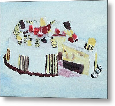 Ice Cream Cake Oil On Canvas Metal Print