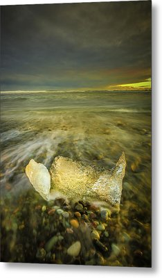 Ice In Surf At Dusk. Metal Print by Andy Astbury