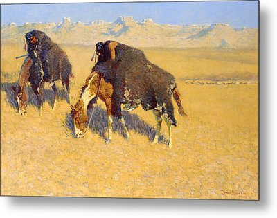 Indians Simulating Buffalo Metal Print by Frederic Remington