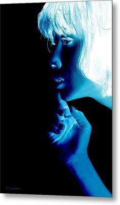 Inverted Realities - Blue  Metal Print by Serge Averbukh