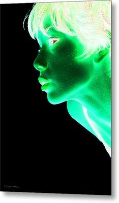 Inverted Realities - Green  Metal Print by Serge Averbukh