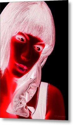 Inverted Realities - Red  Metal Print by Serge Averbukh