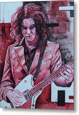 Metal Print featuring the drawing Jack White by Joshua Morton