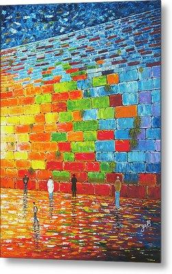 Metal Print featuring the painting Jerusalem Wailing Wall Original Acrylic Palette Knife Painting by Georgeta Blanaru