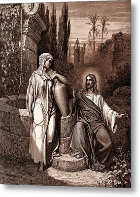 Jesus And The Woman Of Samaria Metal Print by Gustave Dore