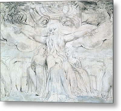 Job And His Daughters  Metal Print by William Blake
