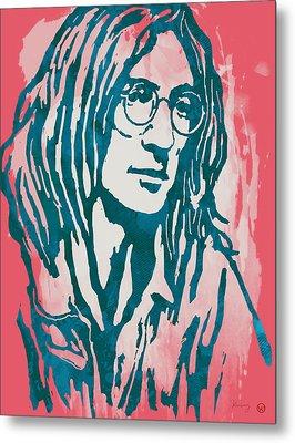 John Lennon Pop Stylised Art Sketch Poster Metal Print by Kim Wang
