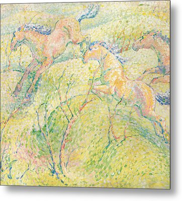 Jumping Horses Metal Print by Franz Marc