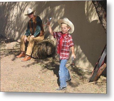 Junior Gunslinger With Doting Dad O.k. Corral Gunfight Site Tombstone Arizona 2004 Metal Print by David Lee Guss