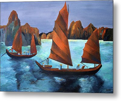 Junks In The Descending Dragon Bay Metal Print by Tracey Harrington-Simpson