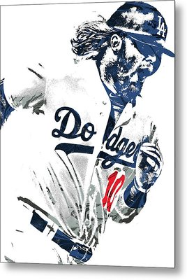 Justin Turner Los Angeles Dodgers Pixel Art Metal Print by Joe Hamilton