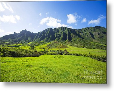 Kaaawa Valley And Kualoa Ranch Metal Print by Dana Edmunds - Printscapes