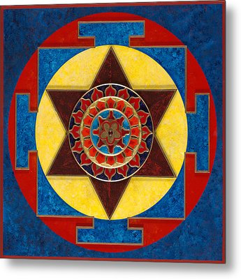 Kameshvari Yantra Blessings Sacred 3d High Relief Artistically Crafted Wooden Yantra  23in X 23in Metal Print by Peter Clemens