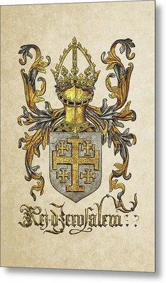 Kingdom Of Jerusalem Coat Of Arms - Livro Do Armeiro-mor Metal Print by Serge Averbukh