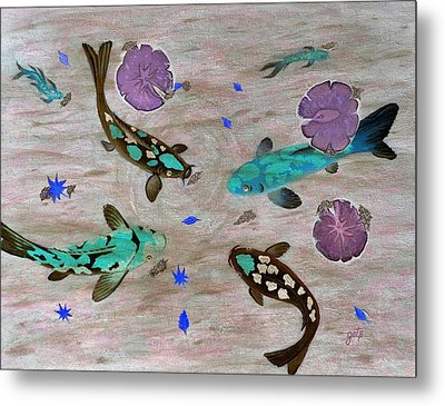 Koi Fish Feng Shui Metal Print by Georgeta  Blanaru