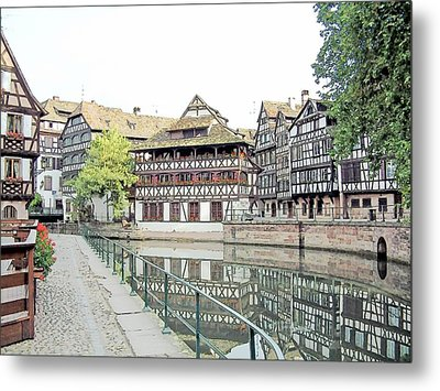 Metal Print featuring the drawing La Petite France Strasbourg France Color Pencil by Joseph Hendrix