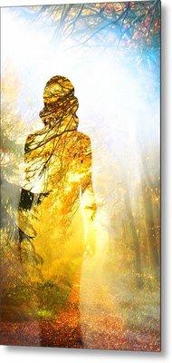 Lady Autumn Metal Print