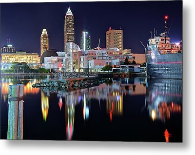 Lakefront Lights Metal Print by Frozen in Time Fine Art Photography